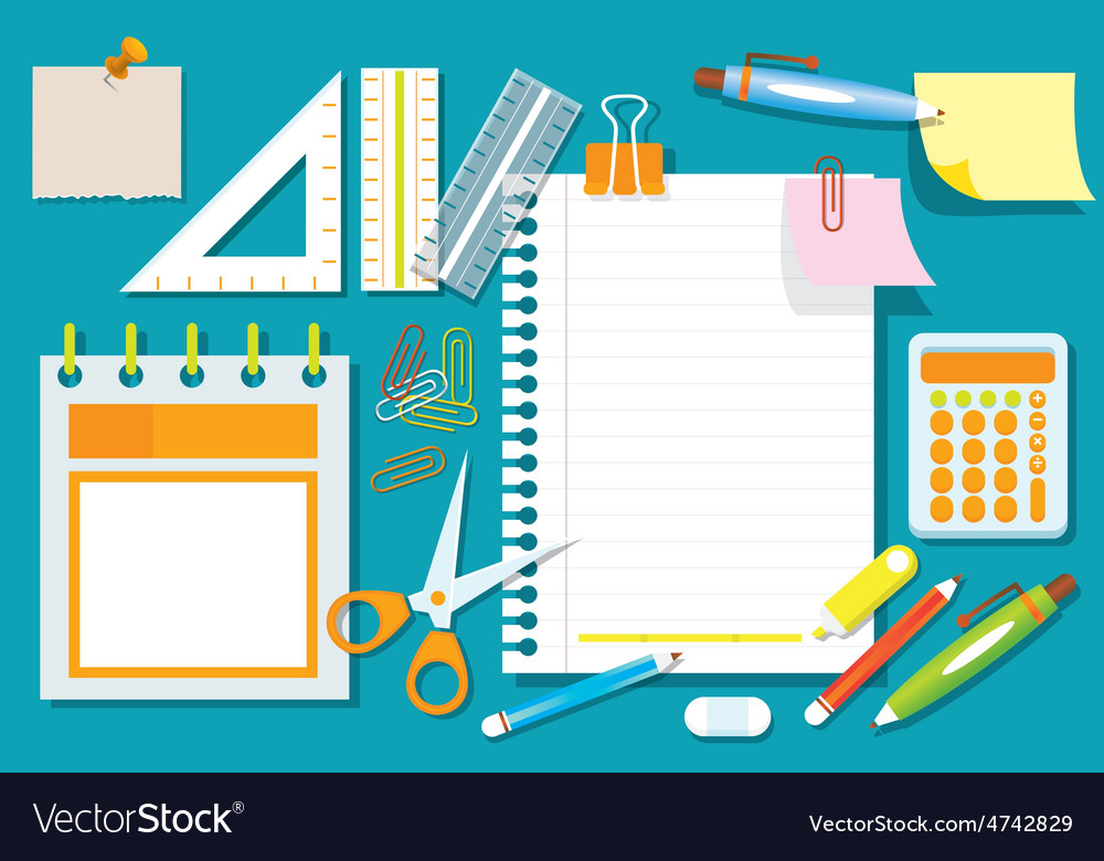 Office supplies and stationery flat design objects vector | Price: 3 Credit (USD $3)