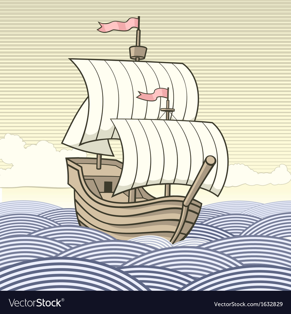 Old time sailing ship vector | Price: 1 Credit (USD $1)