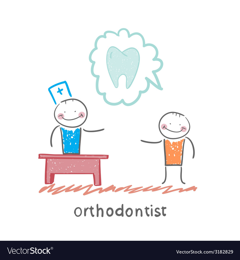 Orthodontist says to a patient about tooth vector | Price: 1 Credit (USD $1)