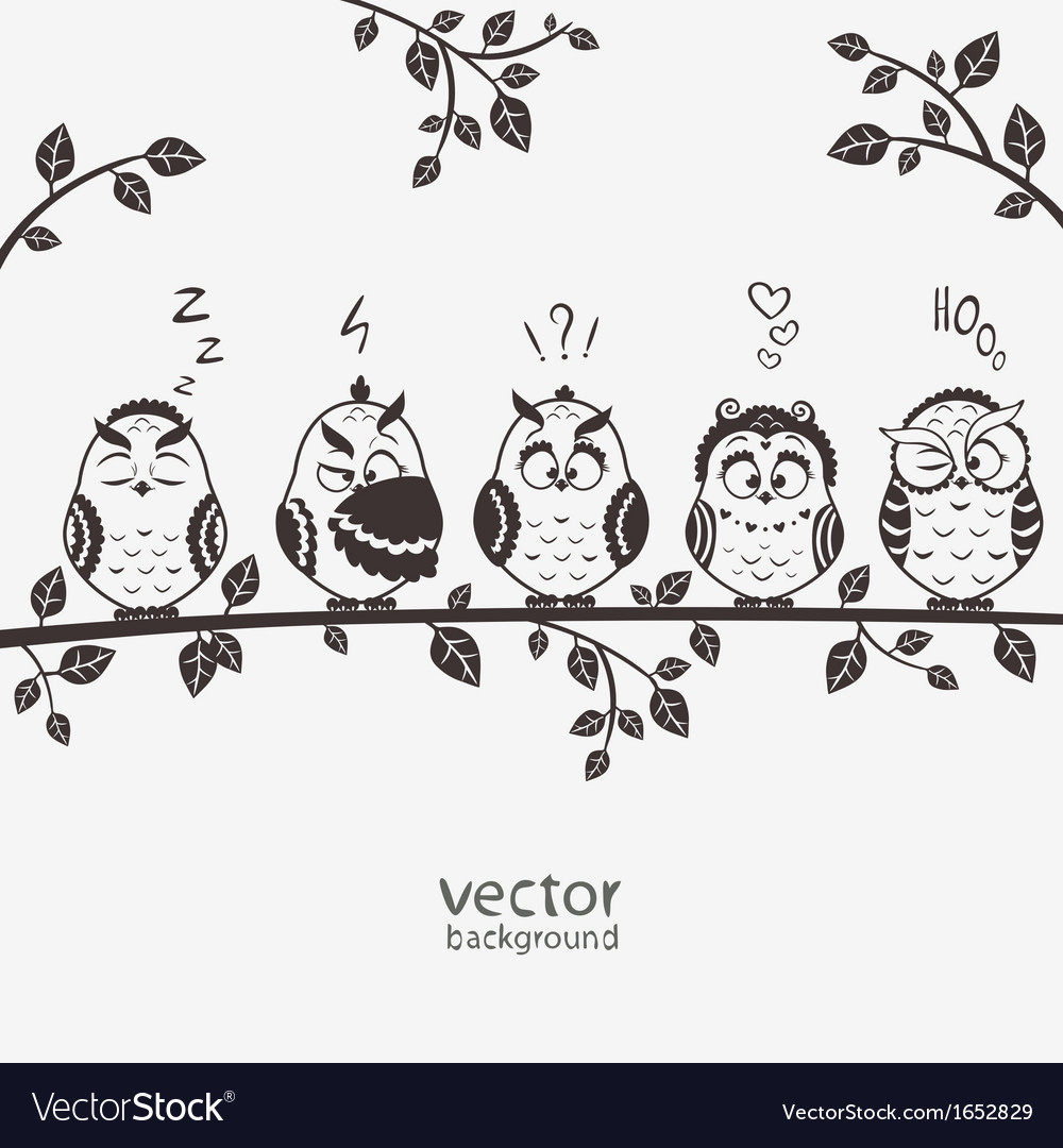 Owls five vector | Price: 1 Credit (USD $1)