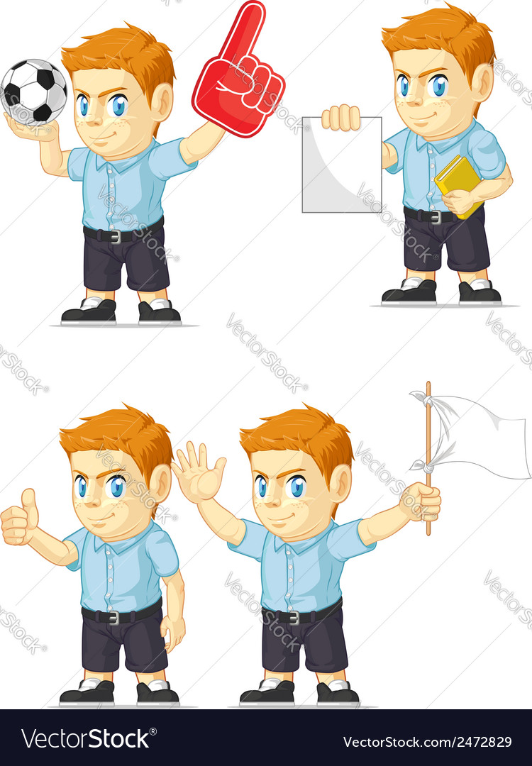 Red head boy customizable mascot vector | Price: 1 Credit (USD $1)