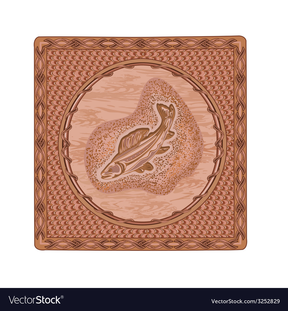 Salmon fish predator woodcarving vector | Price: 1 Credit (USD $1)