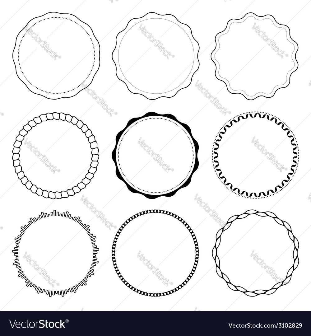 Set of 9 circle design frames vector | Price: 1 Credit (USD $1)