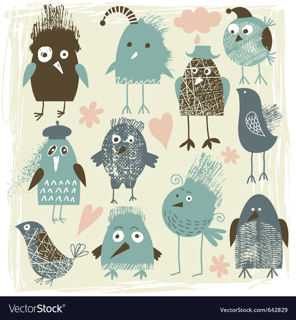Set of crazy birds vector | Price: 1 Credit (USD $1)