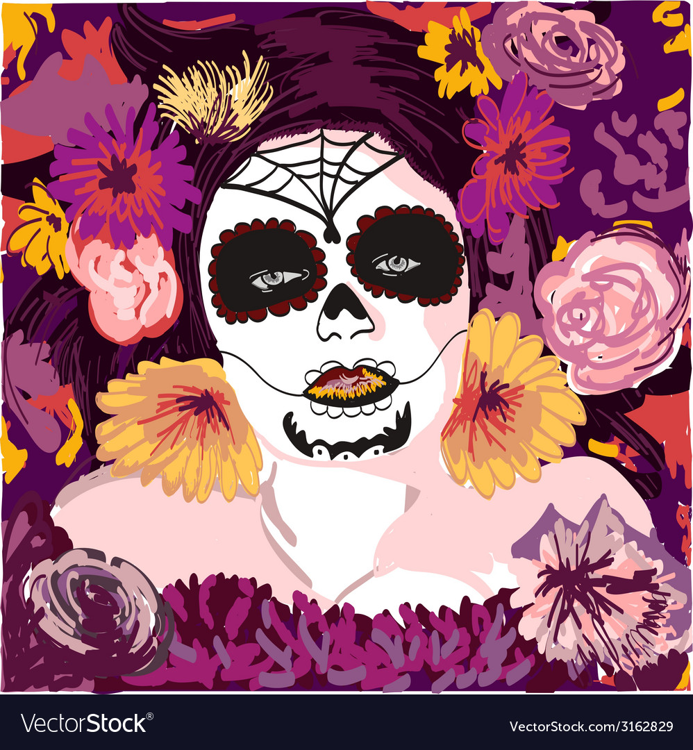 Young pretty mexican sugar skull girl y with vector | Price: 1 Credit (USD $1)
