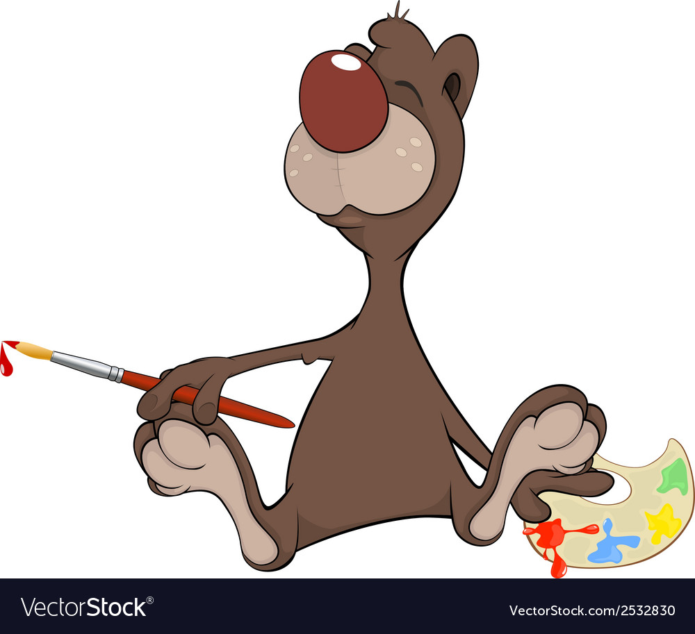 A brown bear the artist cartoon vector | Price: 1 Credit (USD $1)