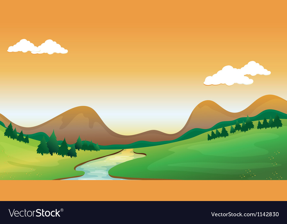 A mountain view vector | Price: 1 Credit (USD $1)