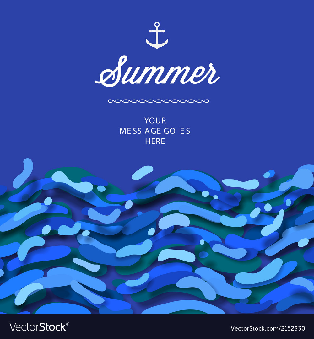 Abstract summer time background with blue wave vector | Price: 1 Credit (USD $1)