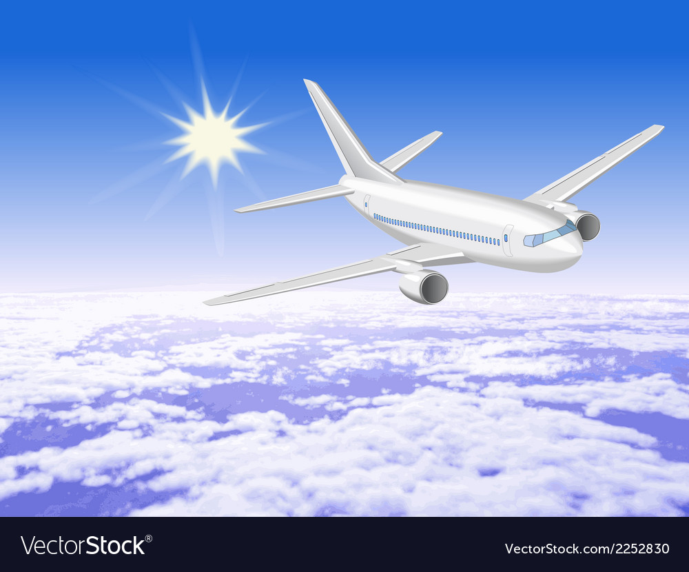 Airplane is in the sunny sky above the clouds1 vector | Price: 1 Credit (USD $1)