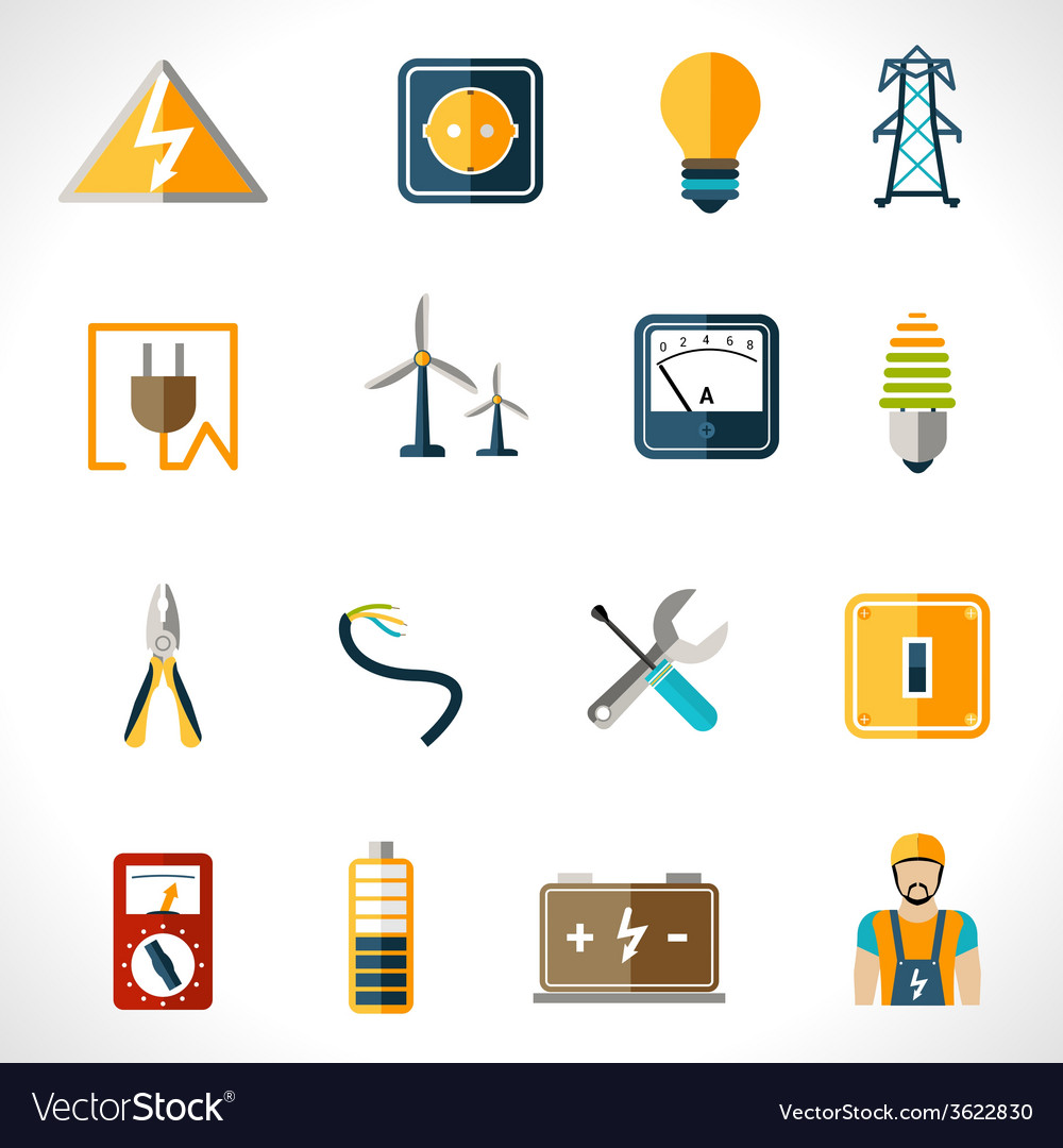 Electricity icons set vector | Price: 1 Credit (USD $1)
