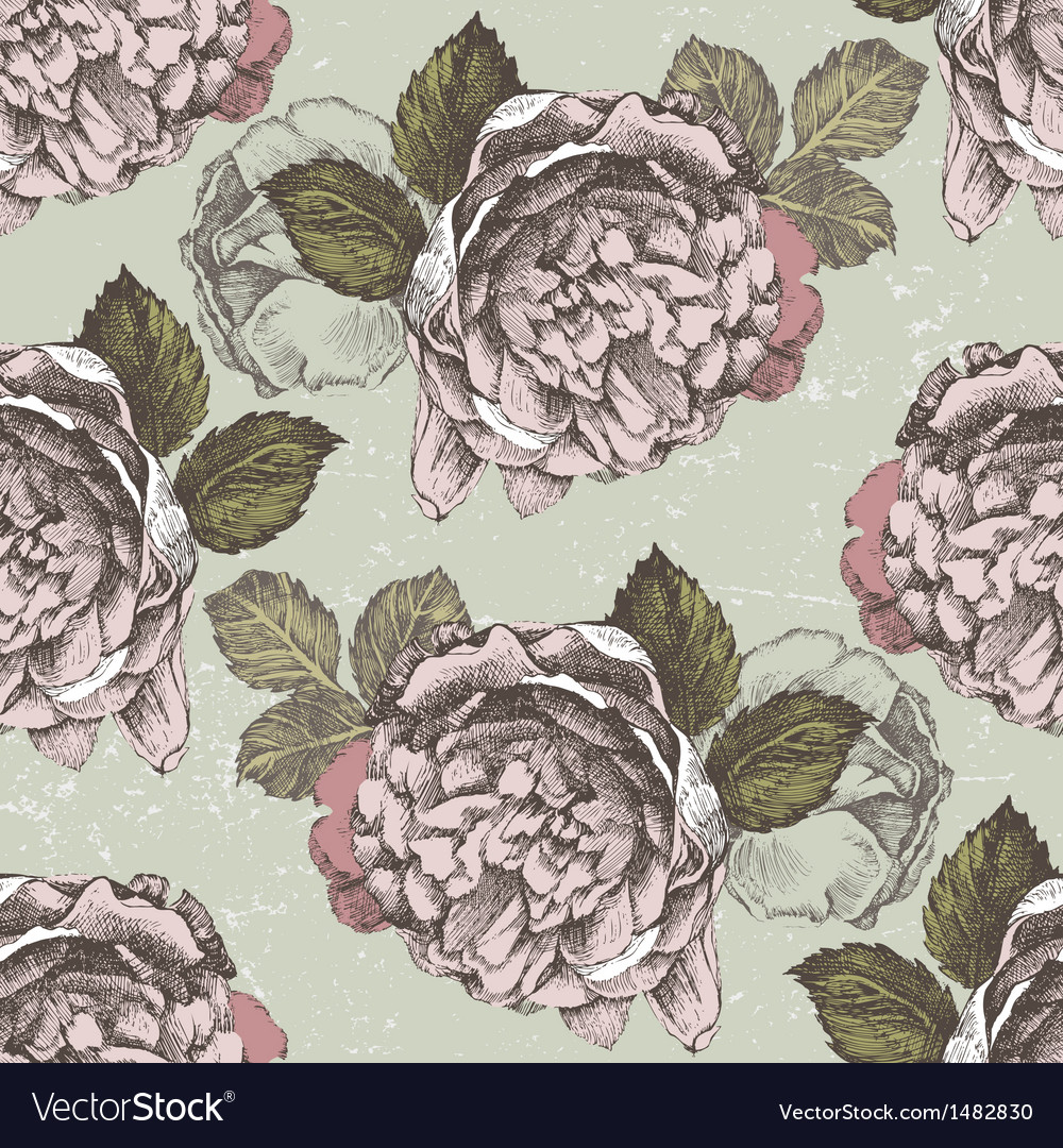 Old style roses seamless2 vector | Price: 1 Credit (USD $1)