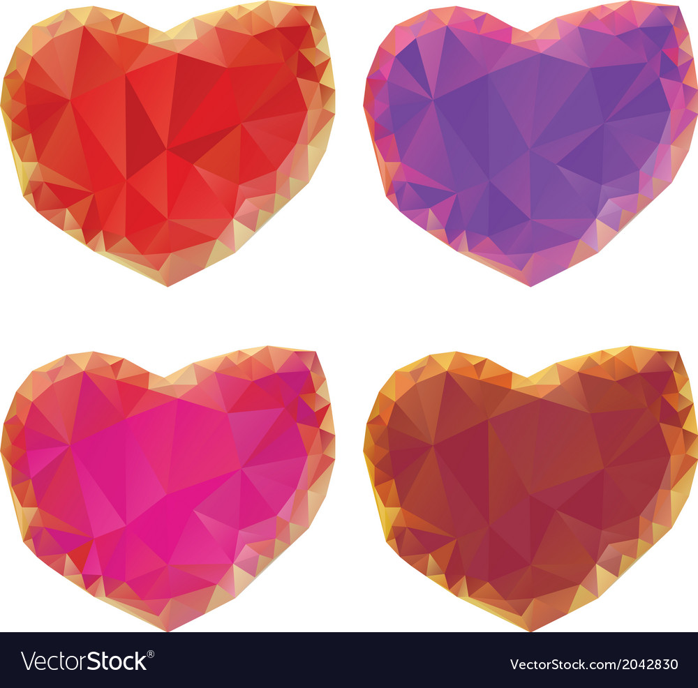 Polygonal hearts set4 vector | Price: 1 Credit (USD $1)