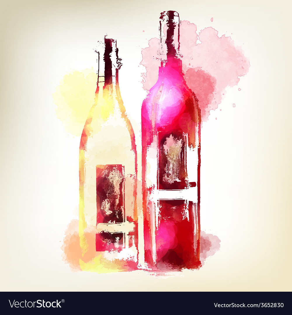 Red and white wine in bottles watercolor splashes vector | Price: 1 Credit (USD $1)