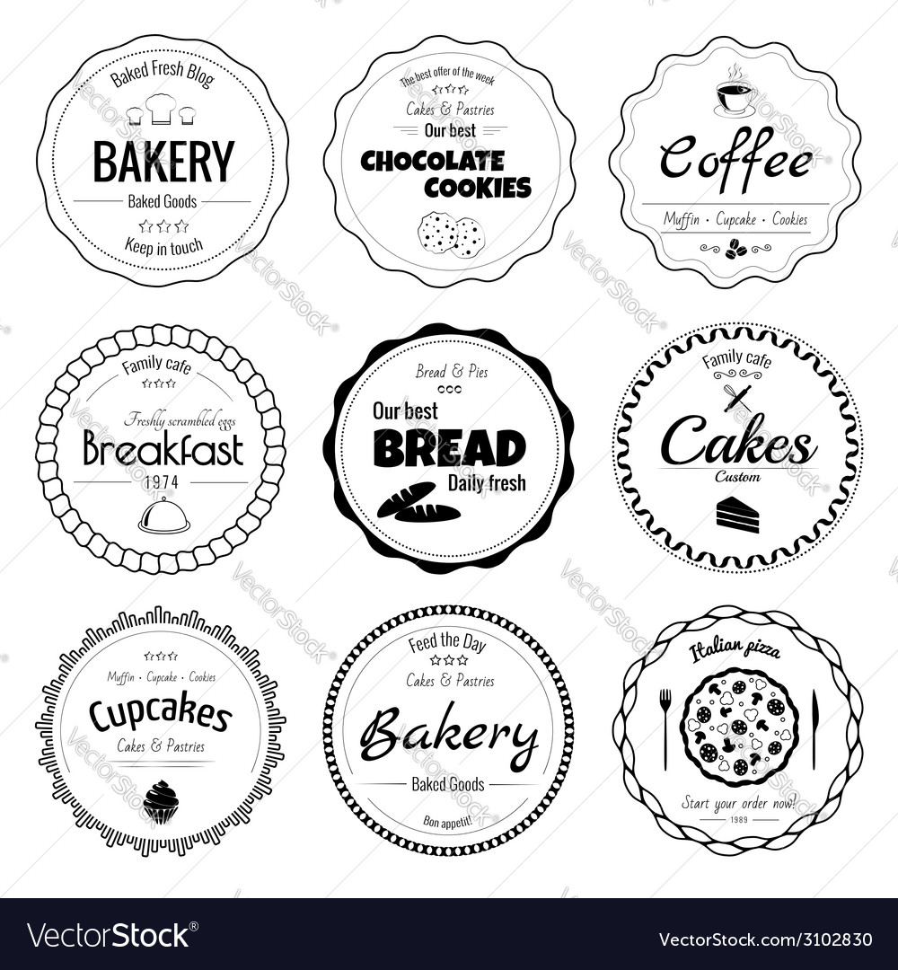 Set of 9 circle bakery labels vector | Price: 1 Credit (USD $1)