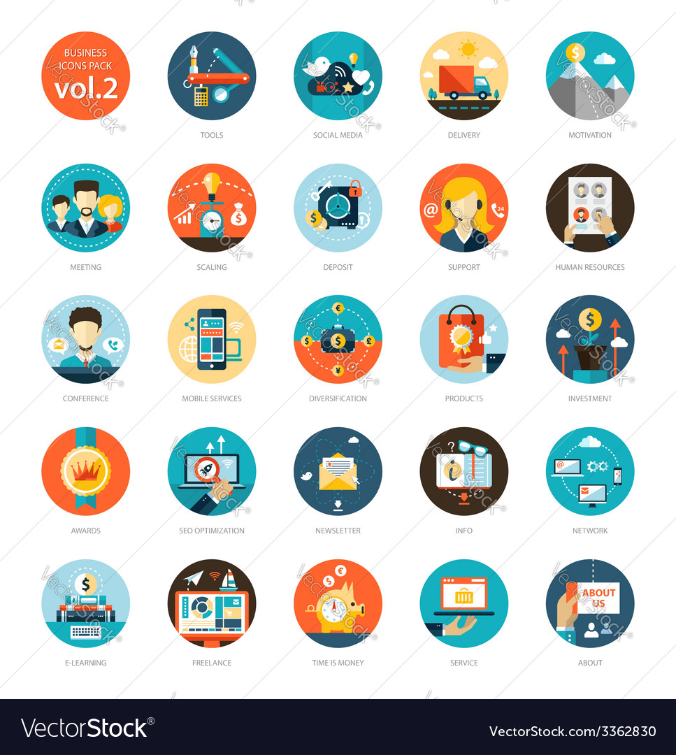 Set of modern flat design business infographics vector | Price: 1 Credit (USD $1)