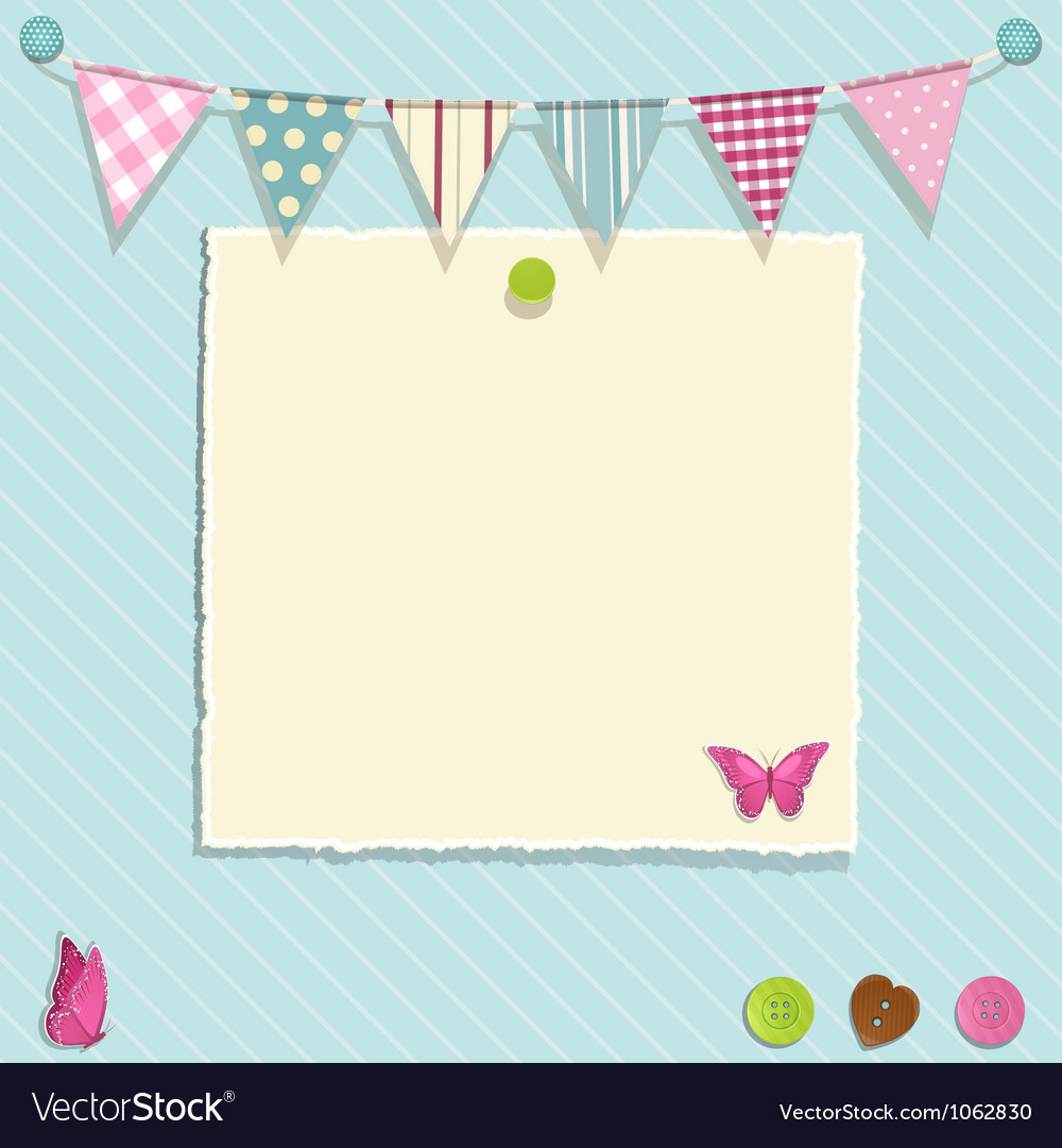 Torn paper and bunting background vector | Price: 1 Credit (USD $1)
