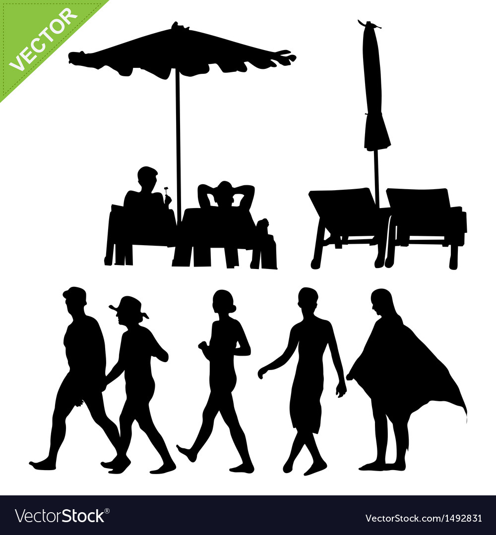 Beach umbrella and deck ans peoples silhouette vector | Price: 1 Credit (USD $1)