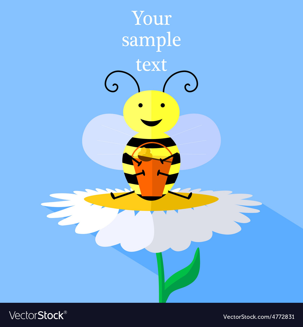 Bee and flower vector | Price: 1 Credit (USD $1)