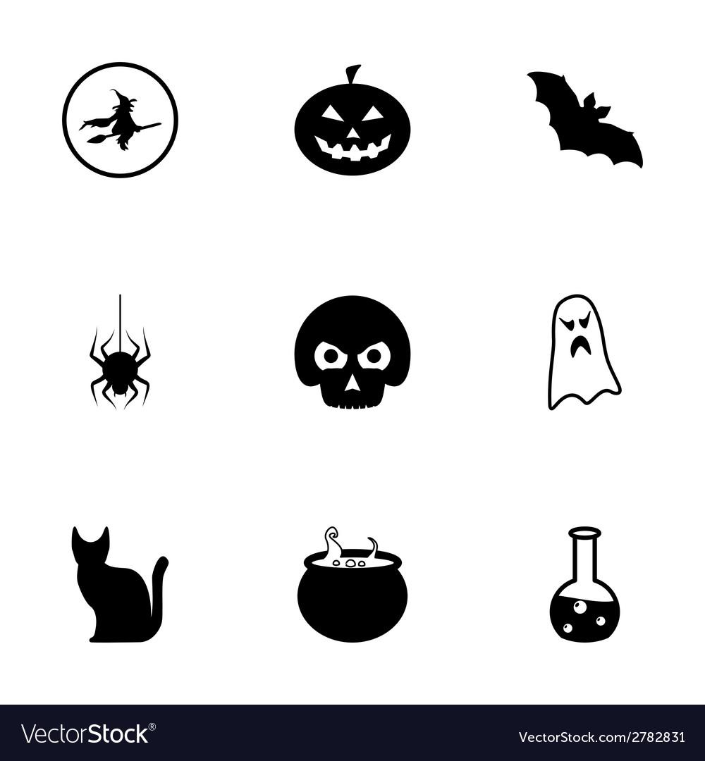 Black halloween icons set vector | Price: 1 Credit (USD $1)