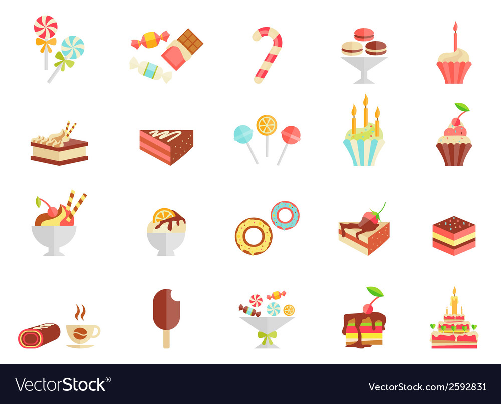 Cake candy and ice cream icons vector | Price: 1 Credit (USD $1)