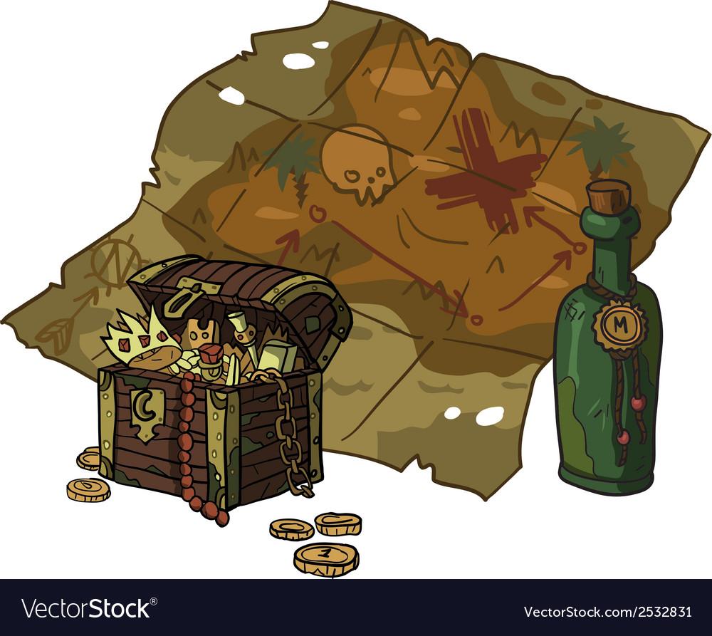 Cartoon flat treasure map vector | Price: 1 Credit (USD $1)