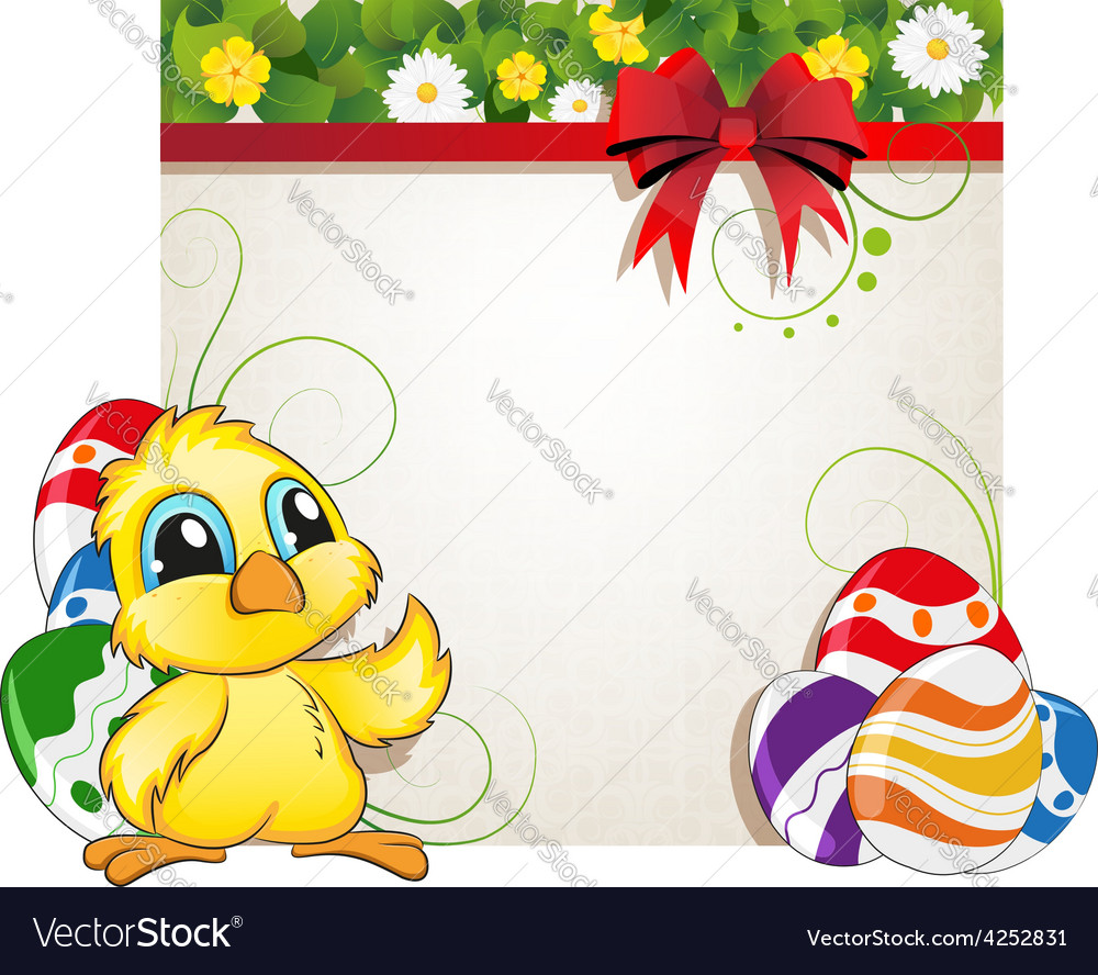 Chicken and easter eggs vector | Price: 3 Credit (USD $3)