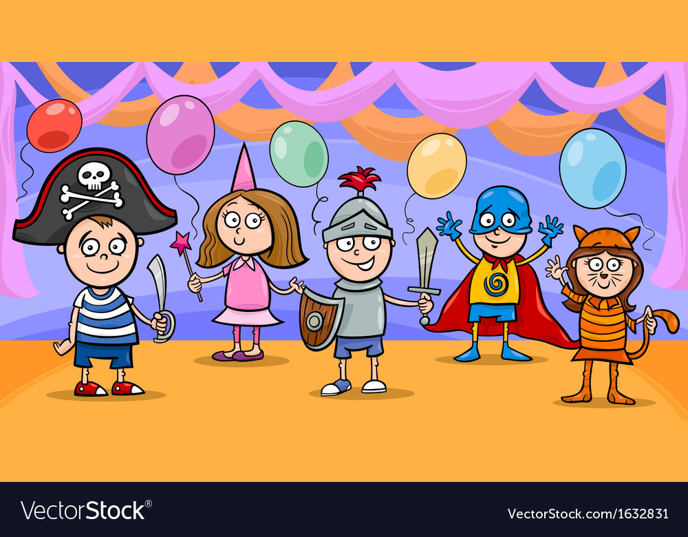 Children at fancy ball cartoon vector | Price: 1 Credit (USD $1)