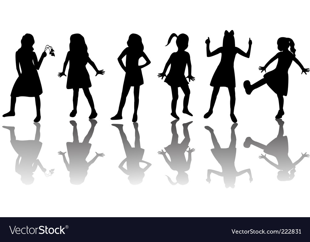 Children silhouettes vector | Price: 1 Credit (USD $1)