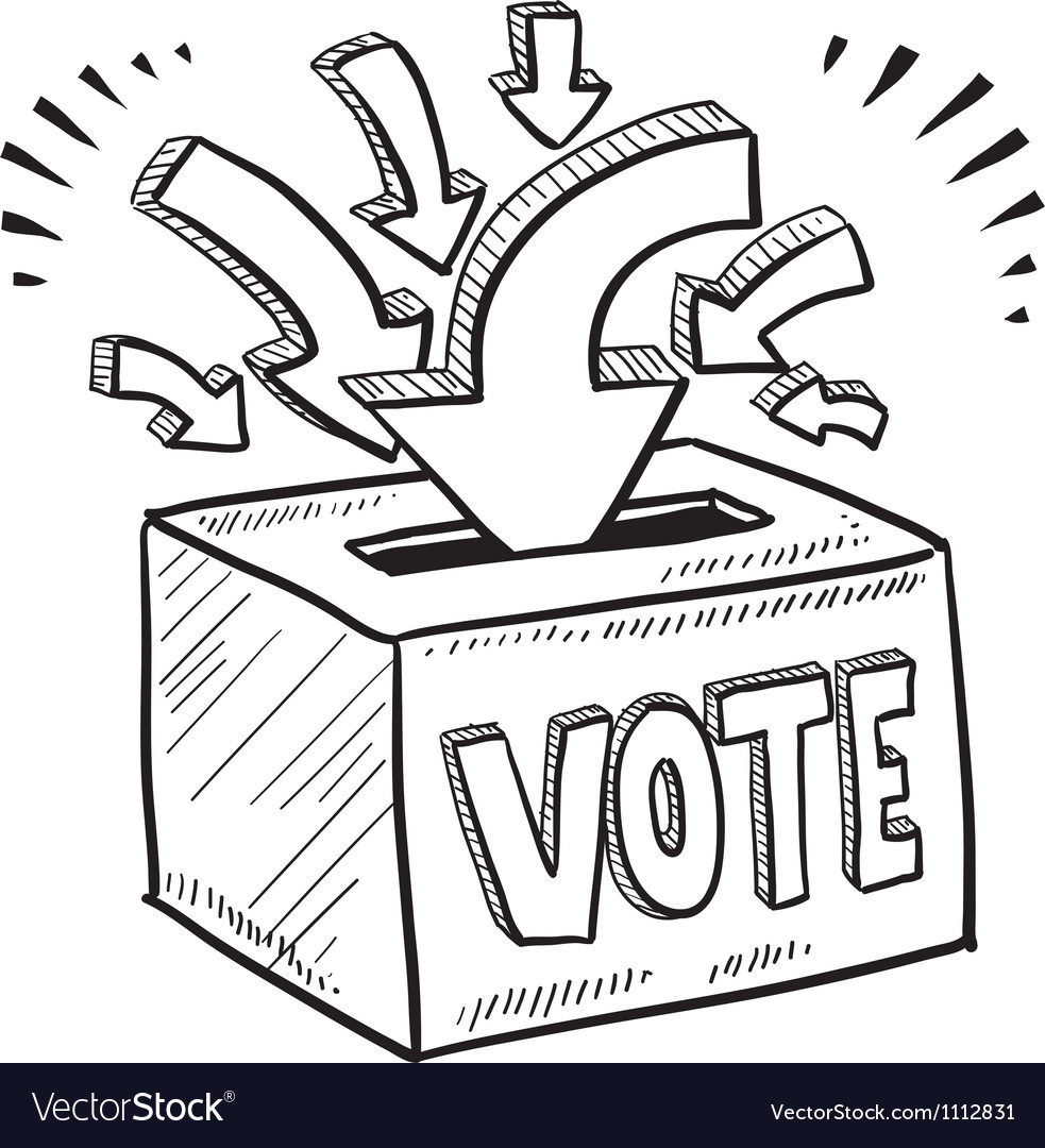 Doodle vote ballot box vector | Price: 1 Credit (USD $1)