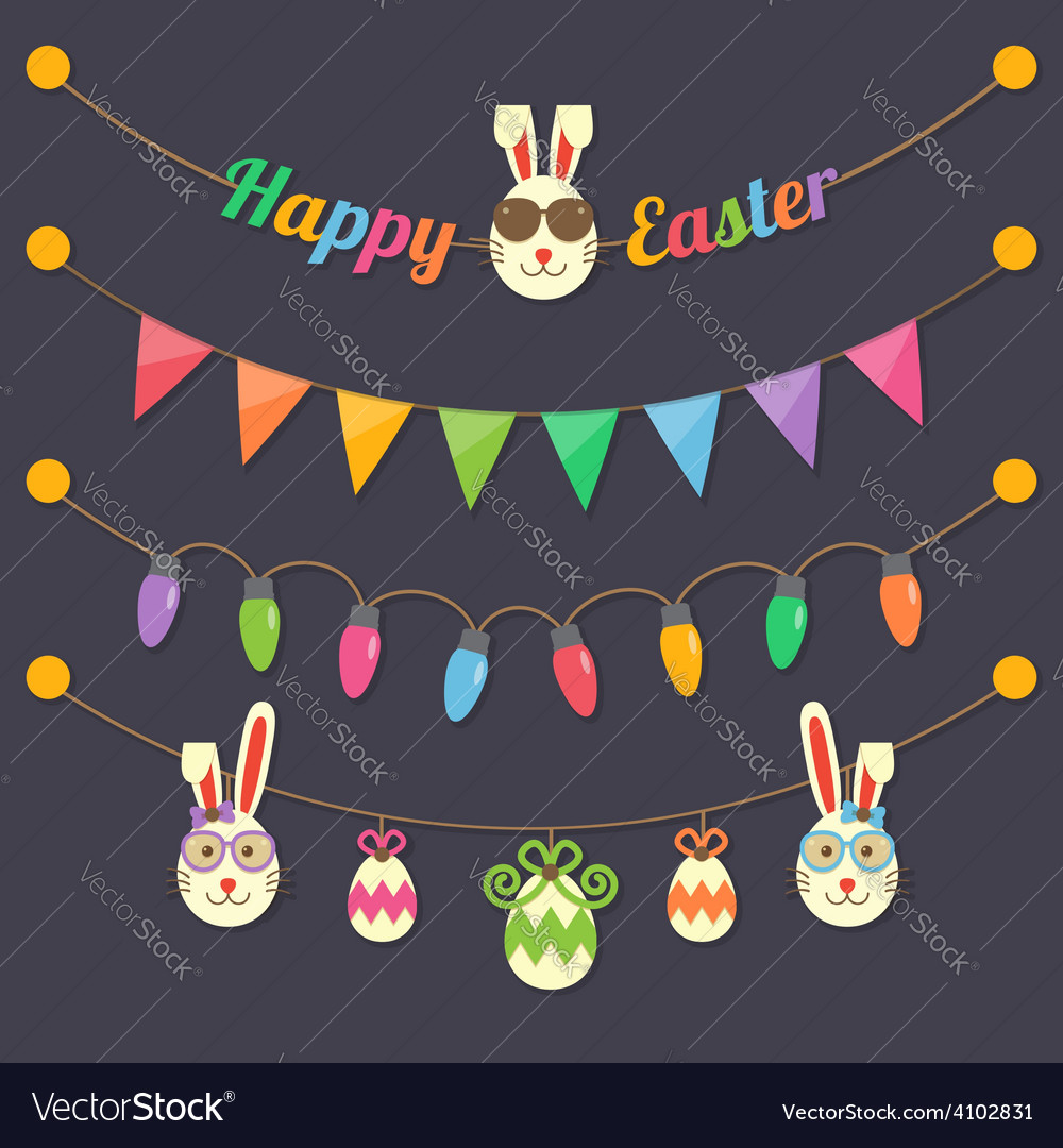 Easter party light bulbs vector | Price: 1 Credit (USD $1)