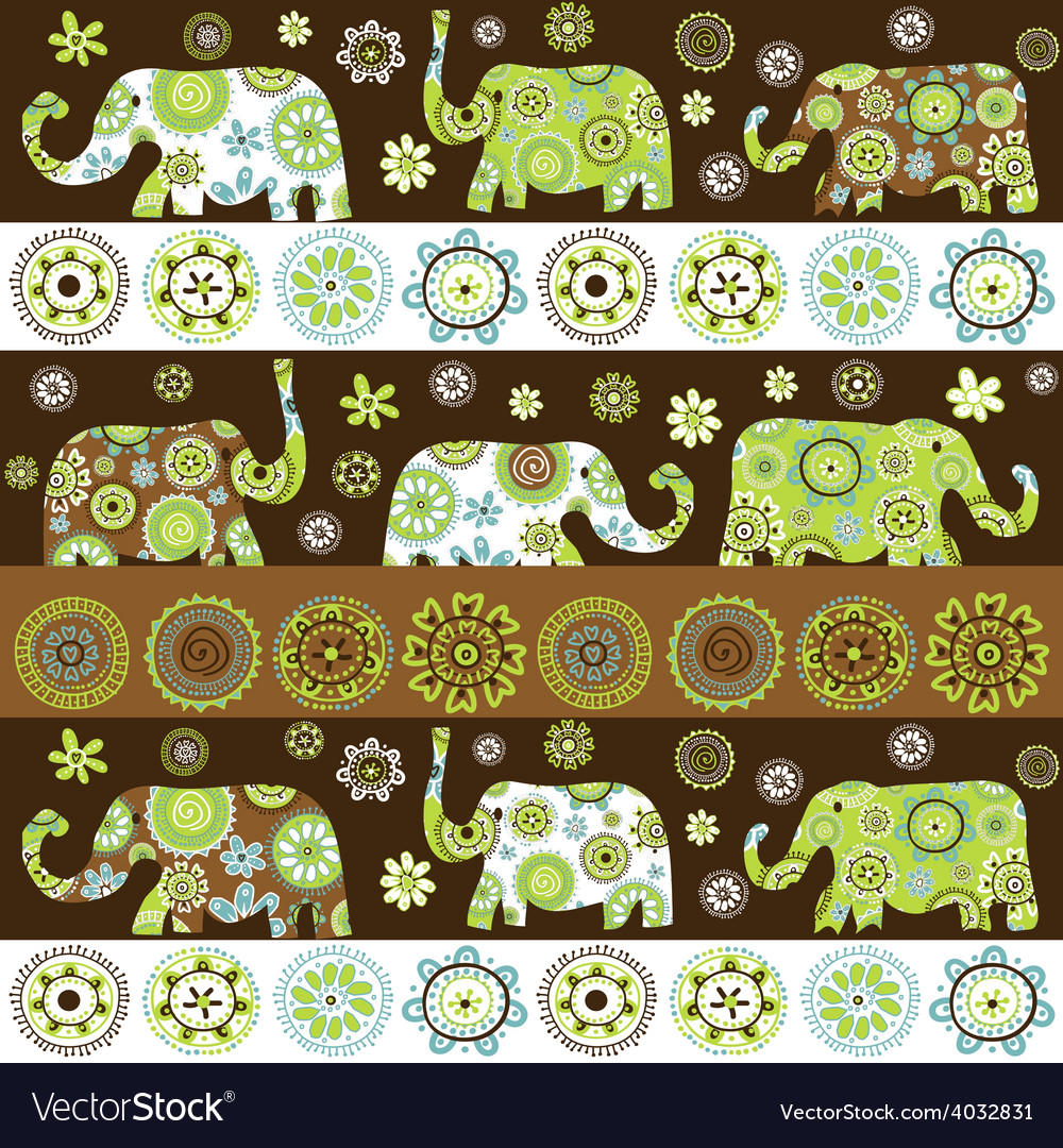 Ethnic background with floral patterned elephants vector | Price: 1 Credit (USD $1)