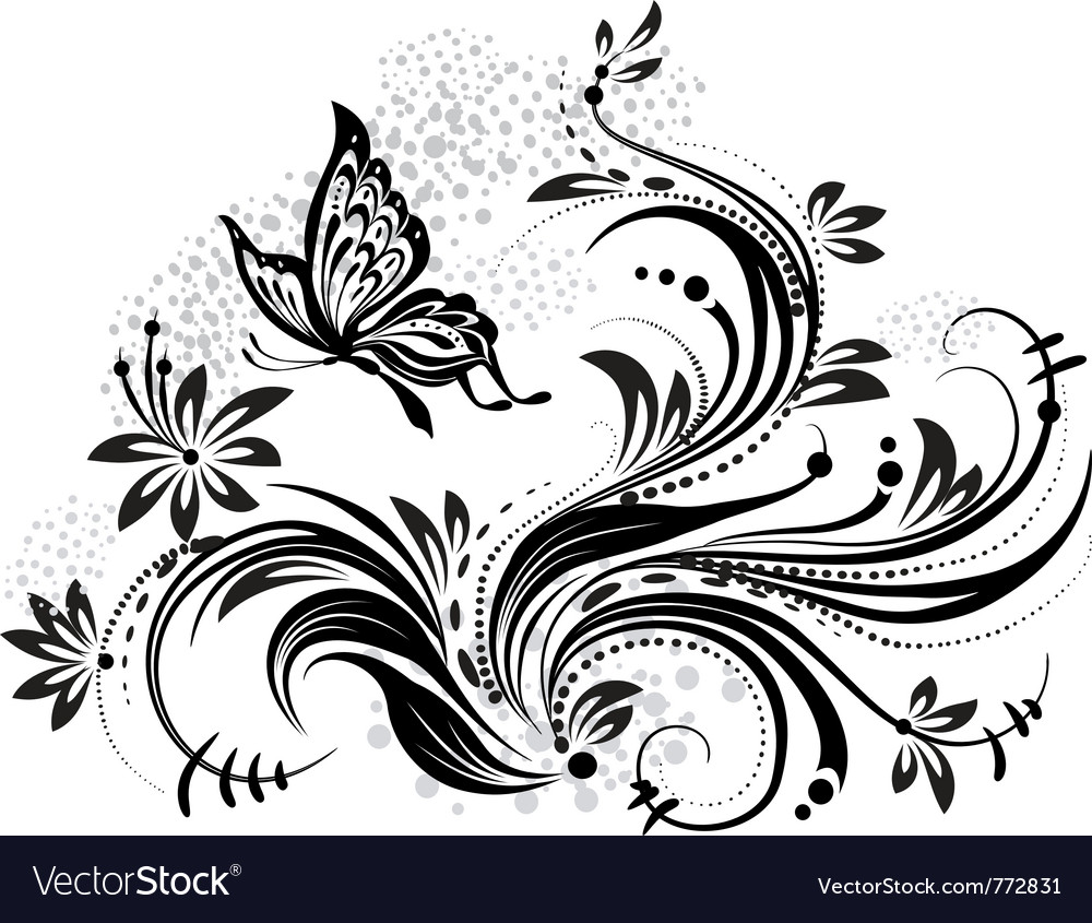 Floral design element and butterfly vector | Price: 1 Credit (USD $1)