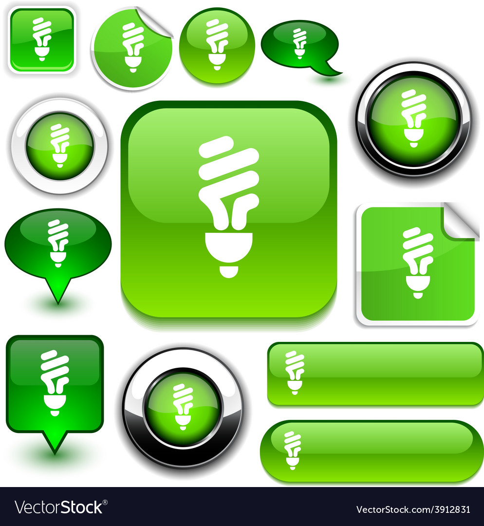 Fluorescent bulb green signs vector | Price: 1 Credit (USD $1)