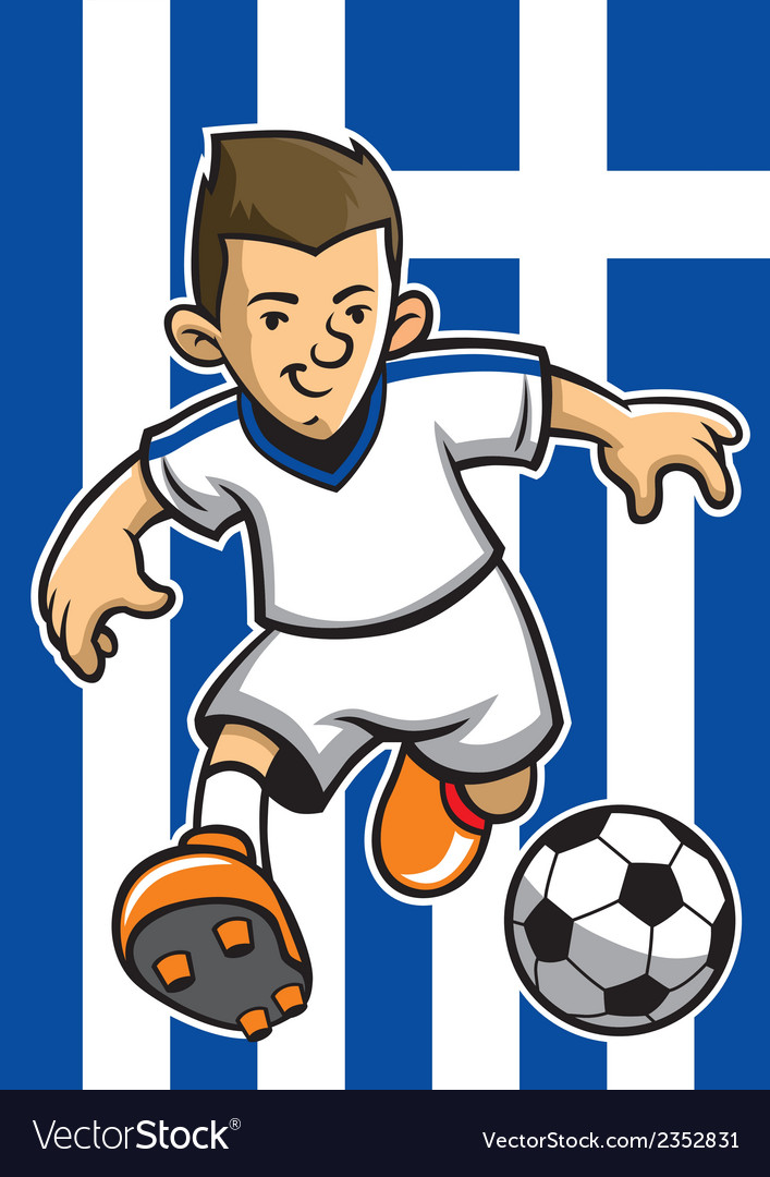 Greece soccer player with flag background vector | Price: 1 Credit (USD $1)