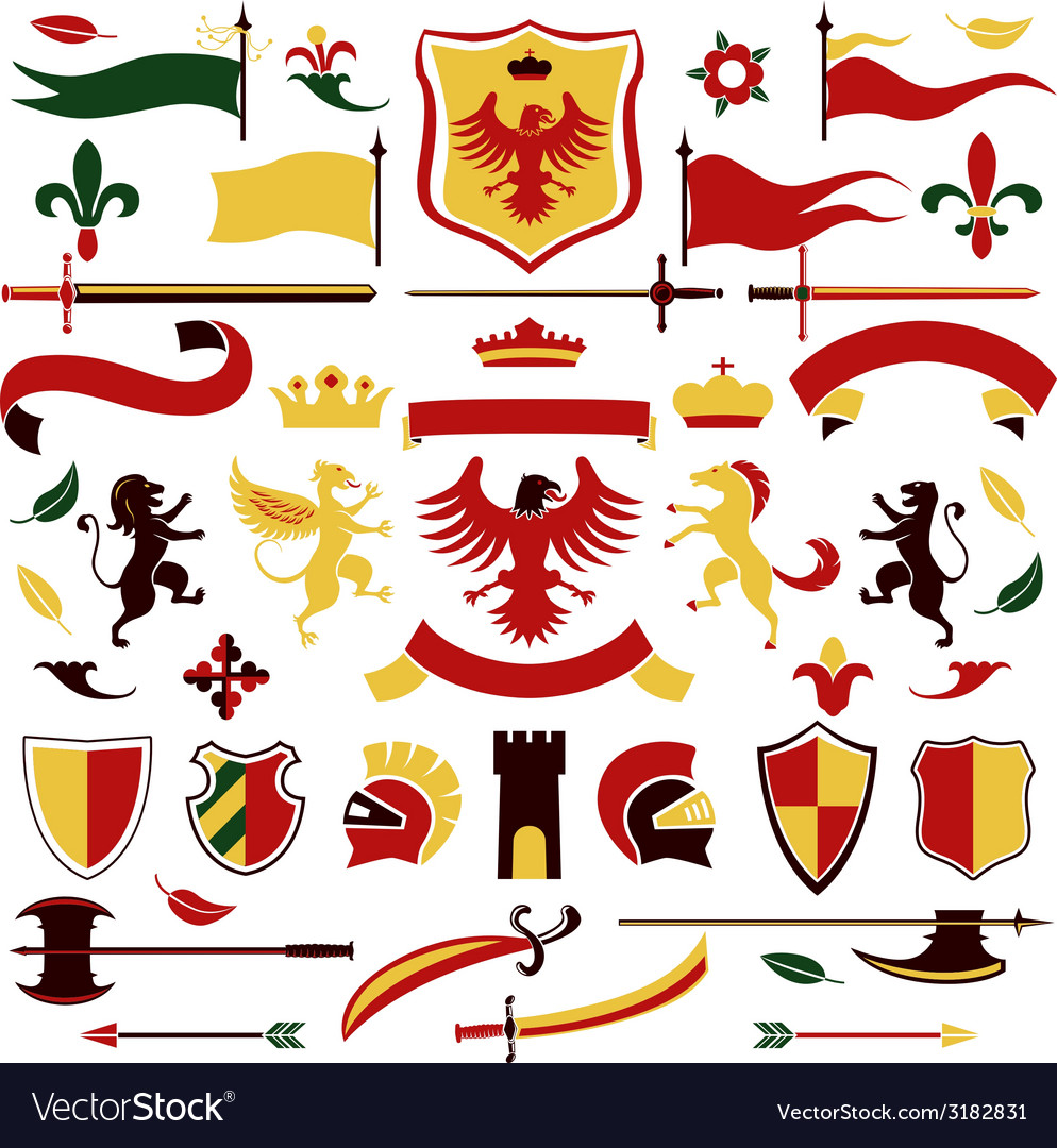 Heraldic set colored vector | Price: 1 Credit (USD $1)