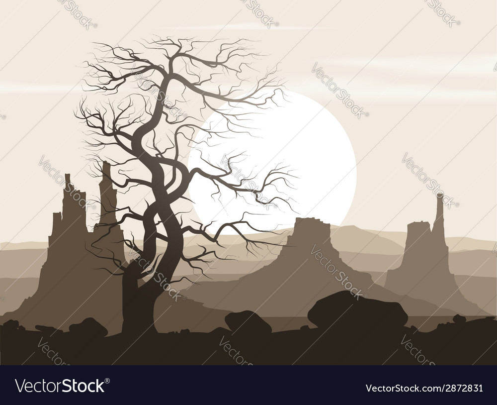 Lifeless landscape with old huge tree and vector | Price: 1 Credit (USD $1)