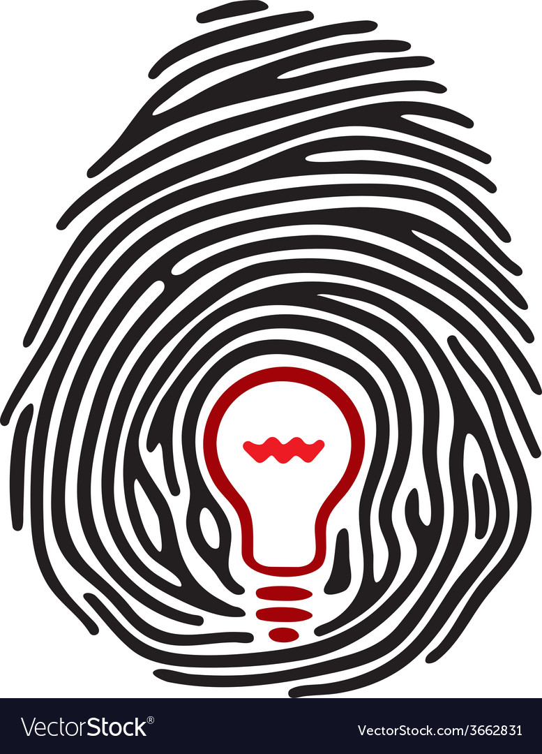 Light bulb fingerprint vector | Price: 1 Credit (USD $1)