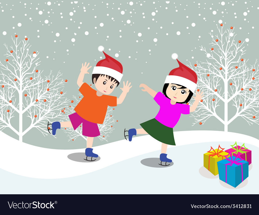 Merry christmas with happy kids vector   Price: 1 Credit (USD $1)