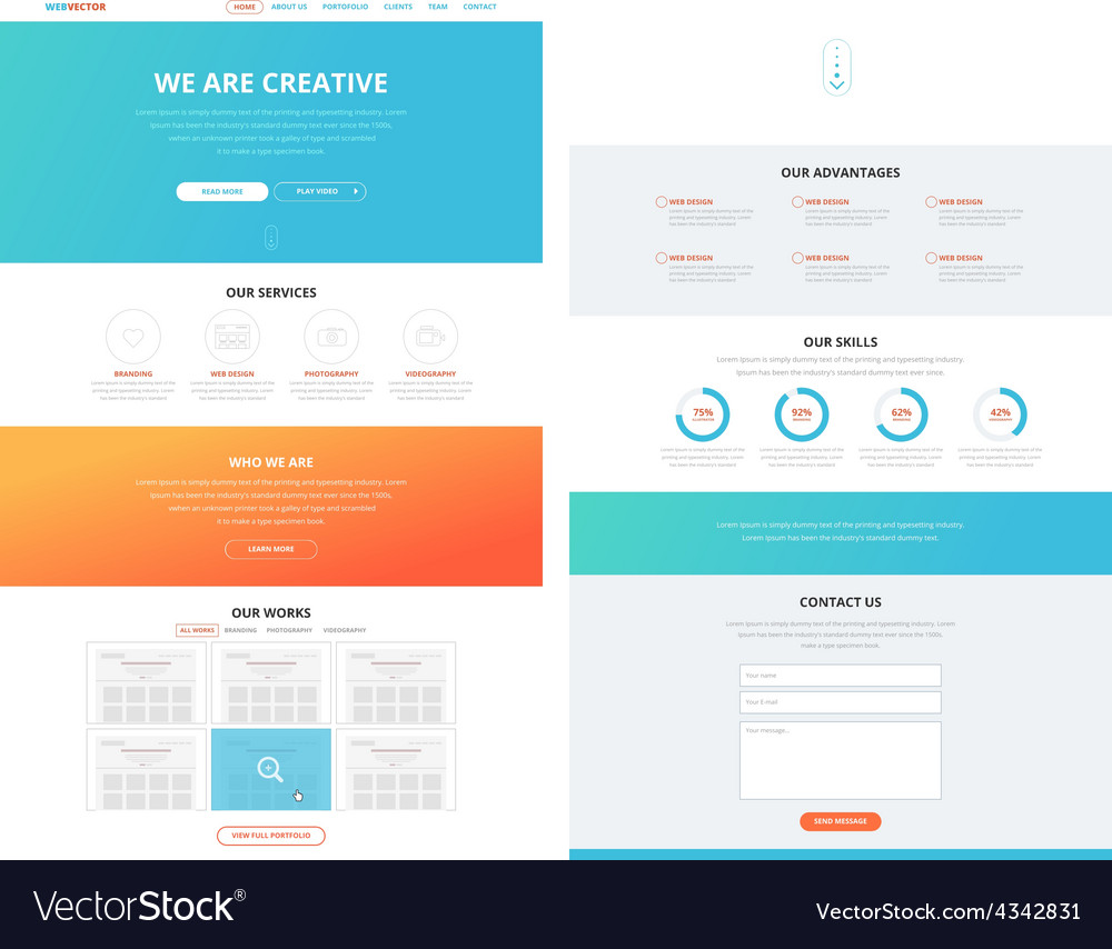 One page flat website design template concept vector | Price: 1 Credit (USD $1)