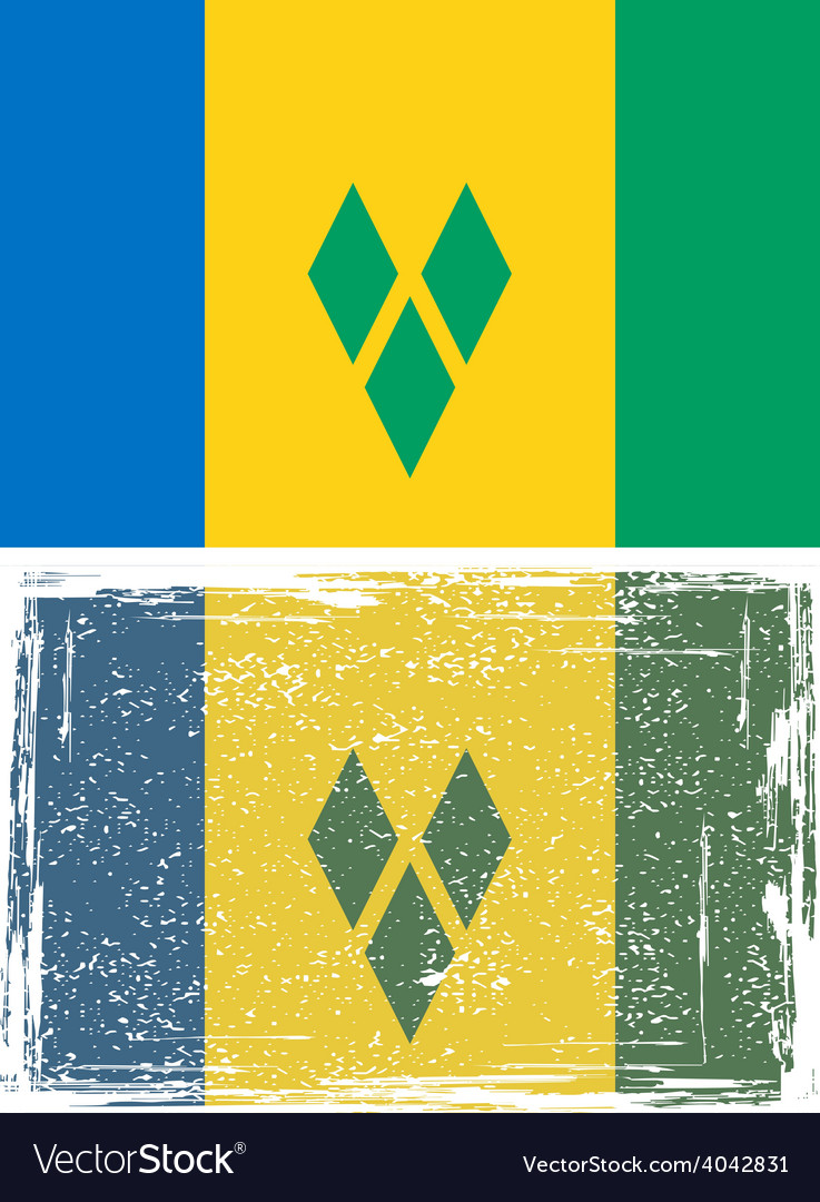 Saint vincent and the grenadines grunge flag vector | Price: 1 Credit (USD $1)