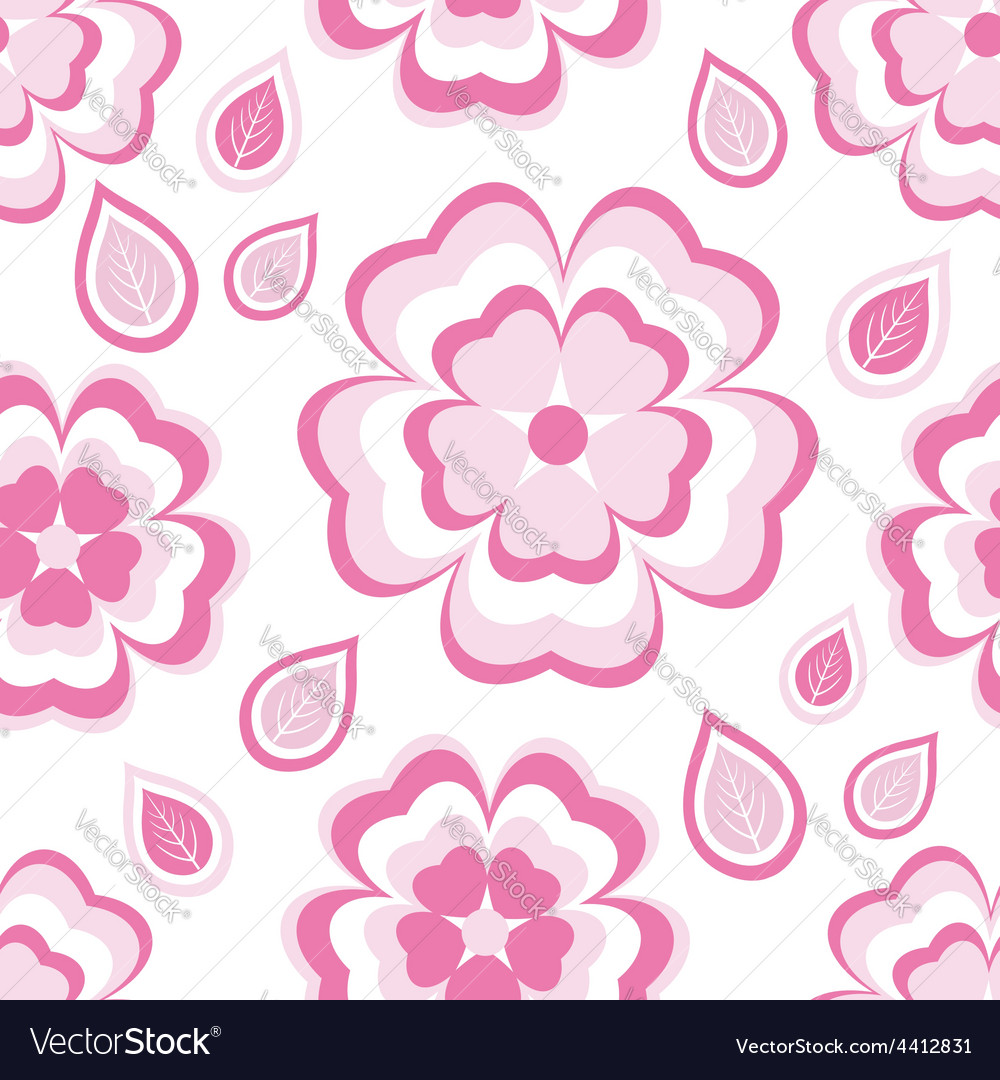 Seamless pattern with pink flowers sakura vector | Price: 1 Credit (USD $1)