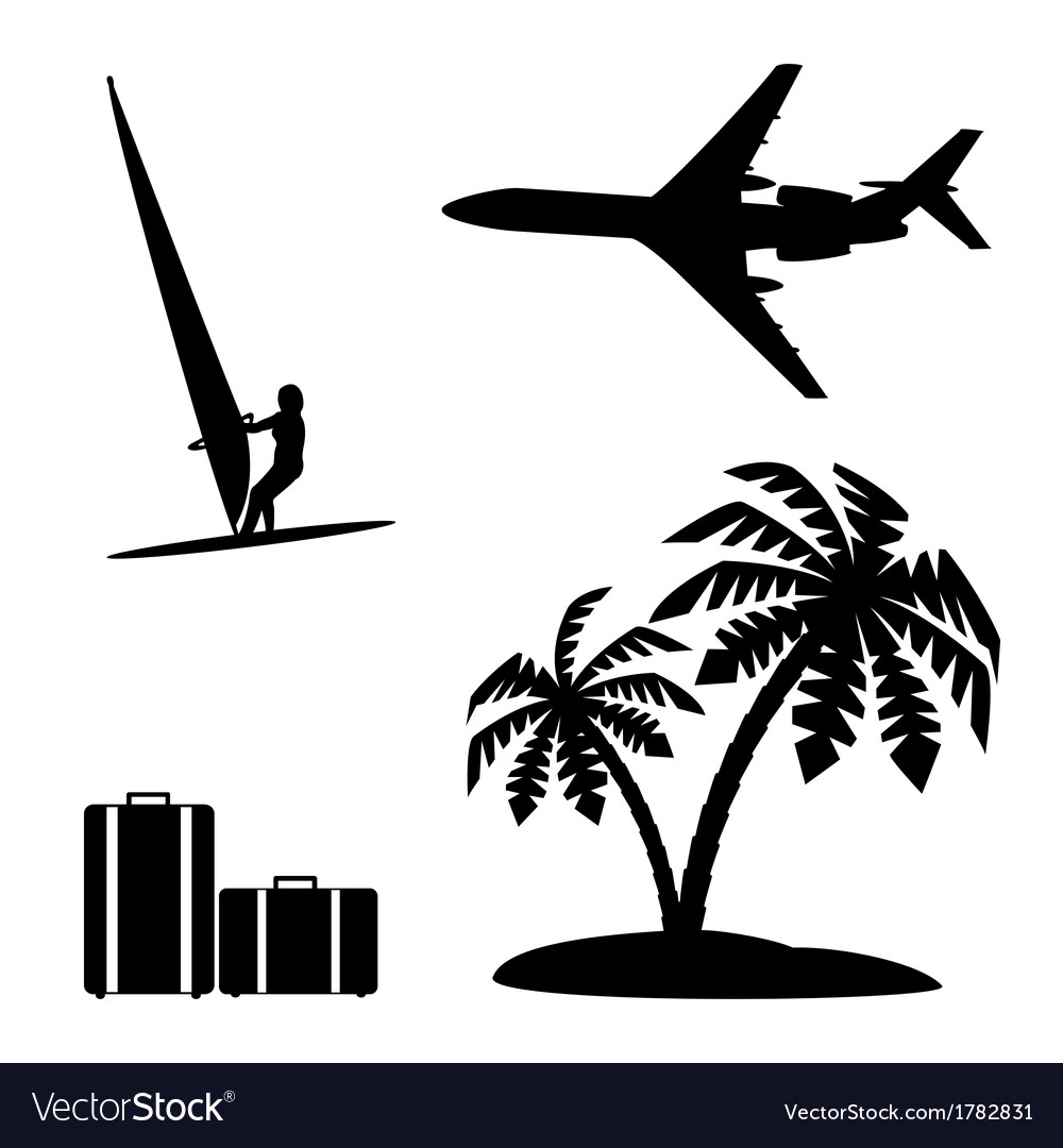 Set silhouettes recreation and tourism vector | Price: 1 Credit (USD $1)