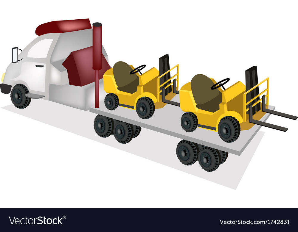 Tractor trailer flatbed loading two forklift truck vector | Price: 1 Credit (USD $1)