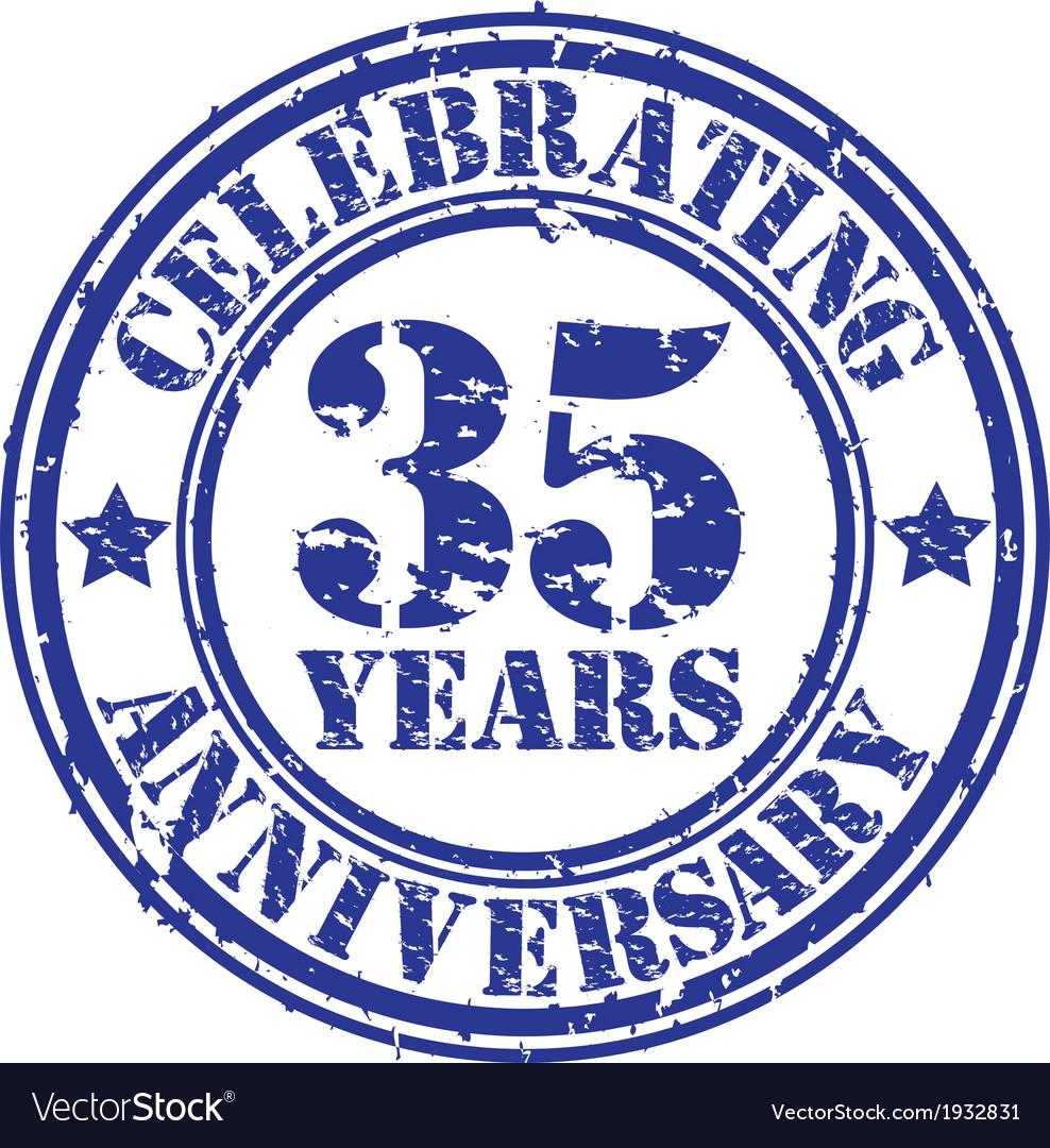 Valuablcelebrating 35 years anniversary grunge rub vector | Price: 1 Credit (USD $1)