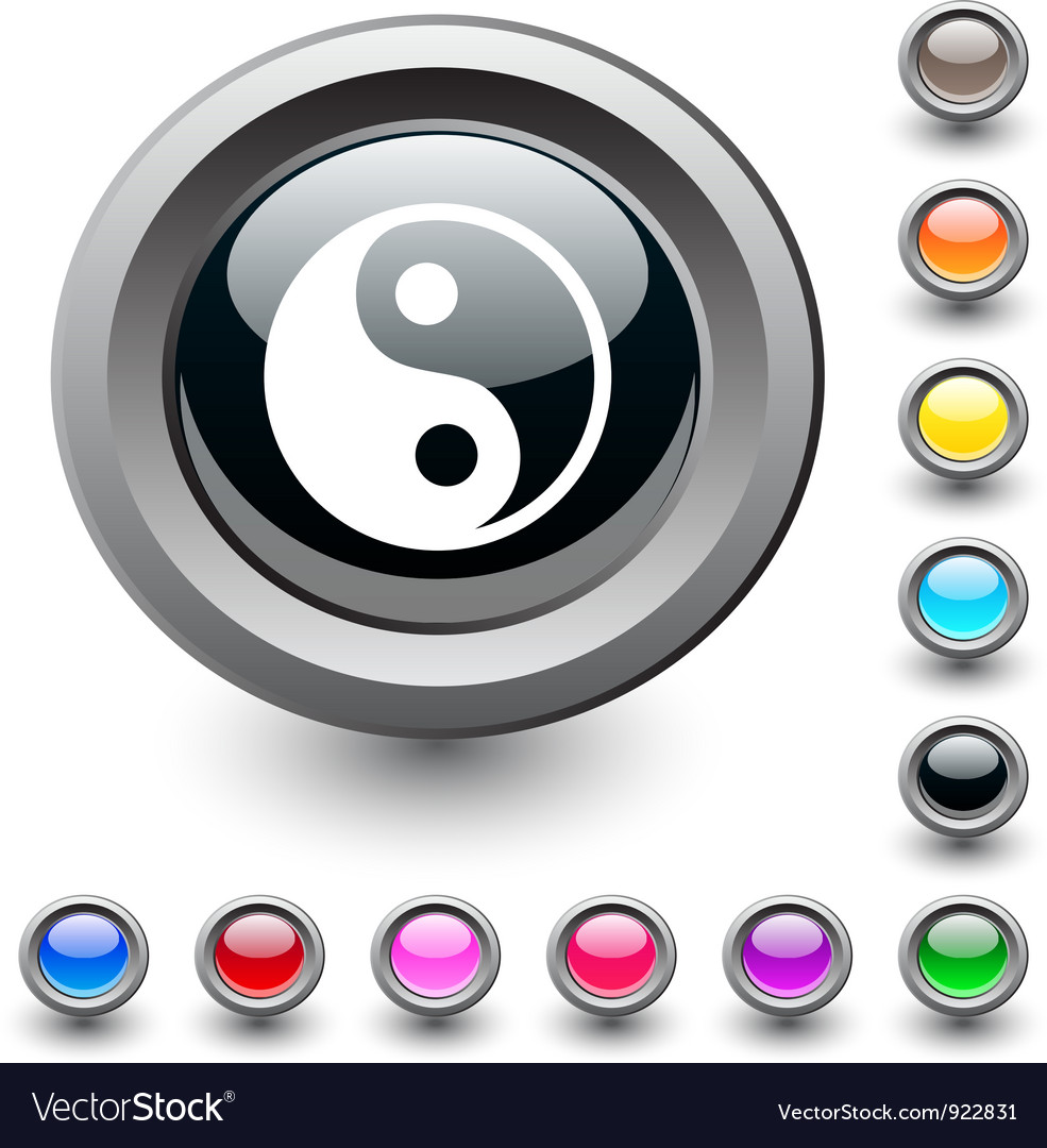 Ying yang round button vector | Price: 1 Credit (USD $1)