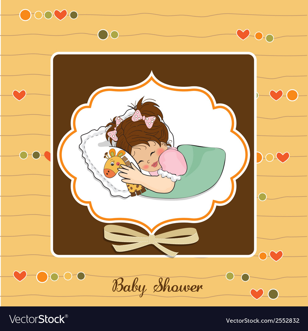 Baby shower card with little girl and her toy vector | Price: 1 Credit (USD $1)