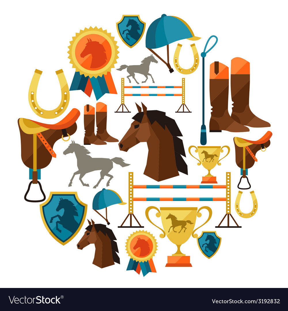 Background with horse equipment in flat style vector | Price: 1 Credit (USD $1)
