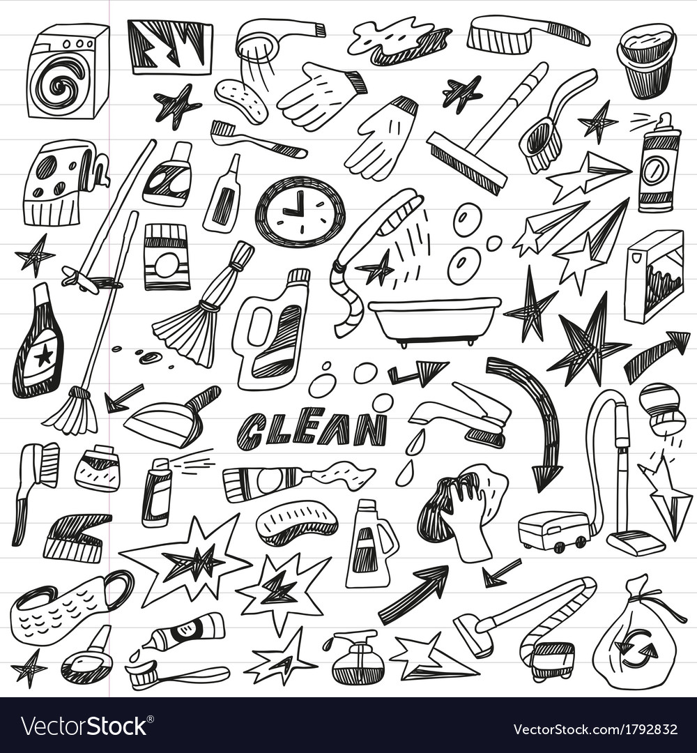 Cleaning tools doodles vector | Price: 1 Credit (USD $1)
