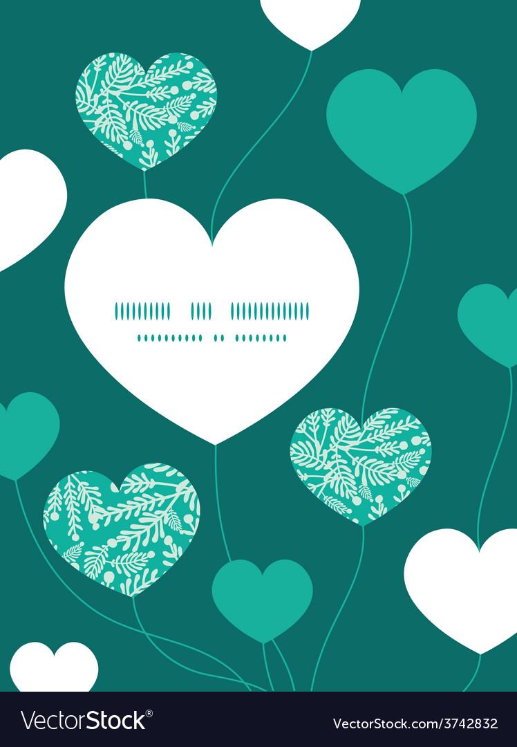 Emerald green plants heart symbol frame vector | Price: 1 Credit (USD $1)