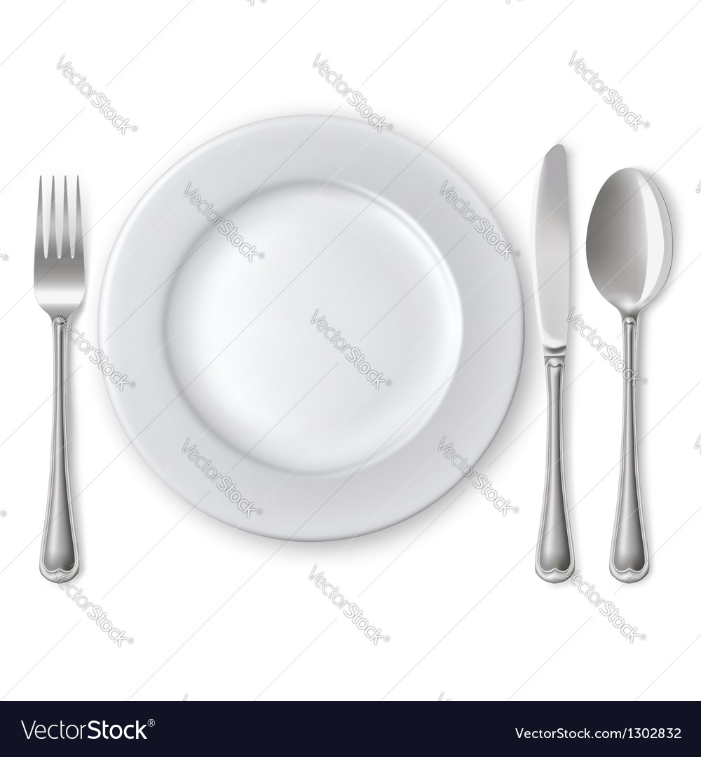 Empty plate with spoon knife and fork vector | Price: 3 Credit (USD $3)